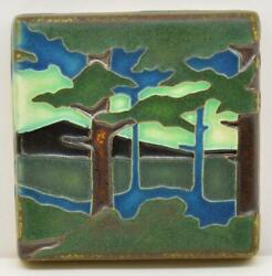 Arts And Crafts Motawi 4x4 Pine Landscape Tile Mountain