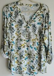 Relativity White Floral Roll Tab Sleeve Stretch Casual Top Sz 2x