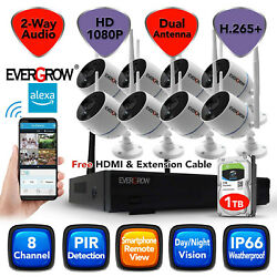 8ch 3mp 2 Way Audio Wireless Cctv Outdoor Home Security Camera System Dvr Kit