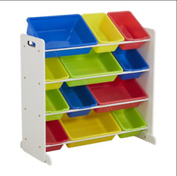 Kids#x27; Toy Storage Organizer with 12 Plastic Bins White Primary