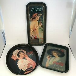 Coca Cola Trays Advertisements Lot Of 3 Collectible Reproductions Mint [11]