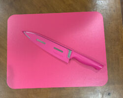 Tupperware Large Basic Chef Knife And Cutting Board Flexible Set-in Red/fuchsia