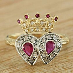 14k Solid Yellow Gold Natural Red Ruby And Diamond Queen Crown Cocktail Ring
