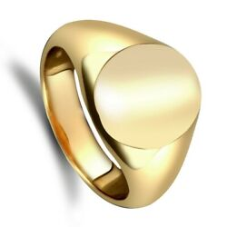 Yellow Gold Oval Signet Ring Very Heavy Weight Gents Hallmarked British Made