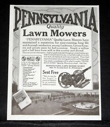 1917 Old Magazine Print Ad, Pennsylvania Quality Lawn Mowers, Are Easy Running