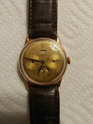Universal Genev. Triple Date Moon Phase. Manual Wind Gold Filled Case 1950