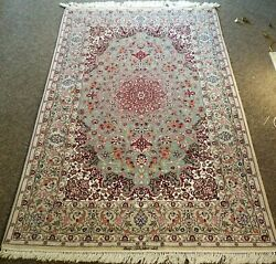 5.2x8ft Collectible Hnd Knotted Ortl Signed Orignal Vintage Silk On Wool Rug W52