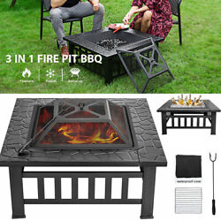 32and039and039 Wood Burning Fire Pits Outdoor Heater Backyard Deck Patio Bbq Garden Stove