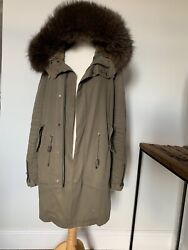 Rare Men Yves Salomon Green Army Coat With Removable Fur Lining Size 46