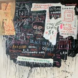 """Basquiat Reproduction, """"museum Security Broadway Meltdown 1983""""- Oil On Canvas"""