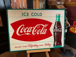 27 Tin Embossed Coca Cola Coke 1960and039s Advertising Sign Watch Video