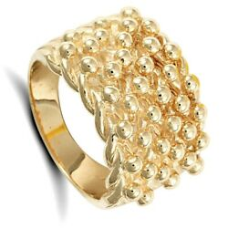 Yellow Gold Keeper Ring Gents Six Row Solid 9 Carat Hallmarked British Made