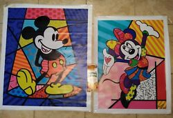 Romero Britto Signed Canvas Lovers Set Mickey And Minnie Mouse 38x33in And 28x34in