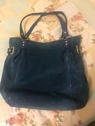 COACH LARGE BLUE SUEDE HOBO PURSE PREOWNED $49.99