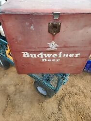 Very Rare Antique 1950's Budweiser Vintage Red Metal Beer Party Cooler