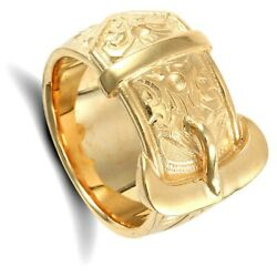 Gents Buckle Ring 9 Carat Solid Yellow Gold Hallmarked British Made Menand039s Band