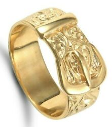Gents Buckle Ring Solid Yellow Gold Hallmarked British Made Ornate Menand039s Band