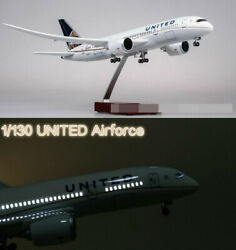 1/130 United Airlines Boeing B787 Replica Airplane Plane Toy Led Voice Light