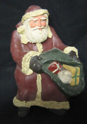 Primitive Look Shelf Sitter Santa With Bag Of Toys Signed And Marked Talton 85