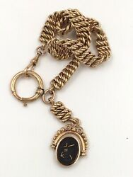 """Victorian 14k Yellow Gold Carved Black Onyx Knight Soldier Watch Fob 12.5"""""""