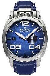 Watch Man Anonimo Militare Am102001003a03 Leather Blue