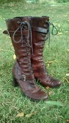 Nine West Leather Equestrian Style Women#x27;s Boots Lace Up sz 10 $40.00