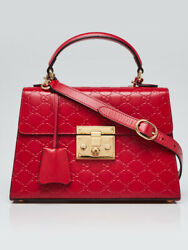 Red Guccissima Leather Signature Padlock Small Top Handle Bag