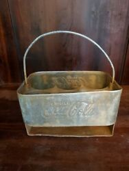 Vintage Metal Coca Cola Coke Carrier Six Pack Slotted Collectible Decor