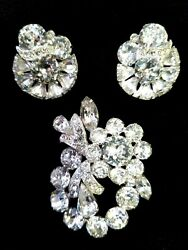 Vintage Eisenberg Ice Clear Rhinestone Clip-on Earring And Brooch Lot