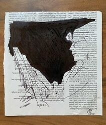 Reader. Drawing Ink On Magazine 7,5 X 8 Inch Original Signed