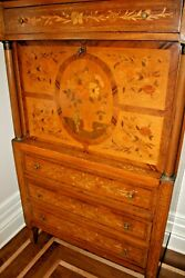 1940and039s Italian Floral Inlaid Louis Xvi Desk-bar Quality Marquetry