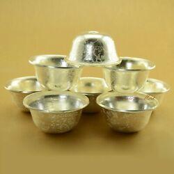 Silver Plated Tibetan Buddhist 3.5 Finely Carved Offering Bowls Set Patan Nepal