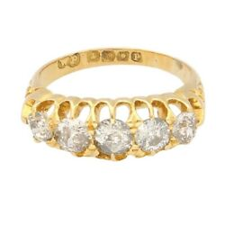 Antique 1890 18ct Yellow Gold 1.50ct Old Cut Diamond Eternity Ring Size L 1/2