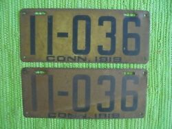 1919 Connecticut License Plate Ct Tag Matched Pair 19 Plates 11-036