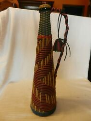 15.5 Tall Wine Decanter Glass Bottle Wrapped In Multi Color Vinyl With Handle