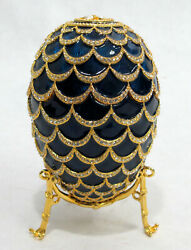 Antasi Faberge Imperial Pine Cone Egg With Elephant Trinket And Necklace