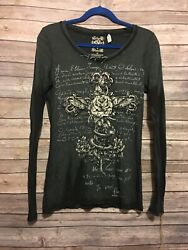 Velvet Stone BKE Rose Cross Women's Long Sleeve Top Shirt MED Black Rhinestones $16.99