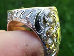 Custom Vintage Hand Engraved Jesus And Mary And Diamonds Men Ring