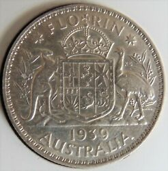 1939 Australia George Vi Florin Grading About Uncirculated.