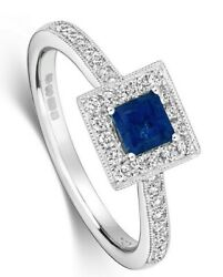 Square Sapphire And Diamond Engagement Ring 18k White Gold Certificate Size J-q