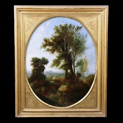 Antique Oil Painting On Canvas Forest Scene Landscape French School 18th