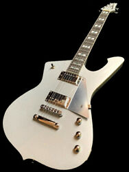 Blemed Silver Sparkle Iceman Style Solid 6 String Electric Guitar