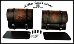 2015-2021 Indian Scout Saddle Bags Mounting Hardware Ant Brown Alligator Leather