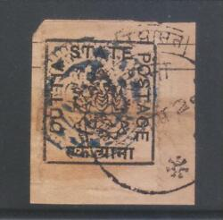 India Duttia State 1911, 1an. Black Sg25f Used Stamp On Piece Rare.