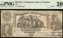 1861 20 Blundered 2 Trans-mississippi Stamp Confederate Note T20 Pf-13 Pmg 20