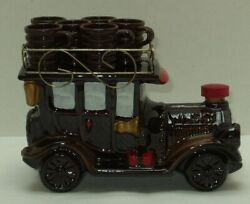 Vintage Whiskey Old Classic Car With Roof Rack Decanter And 6 Shot Glasses