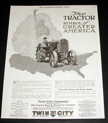 1920 Old Magazine Print Ad, Twin City Tractors, Power Farming For America