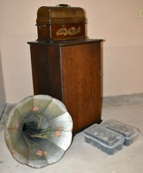 Antique Edison Home Cylinder Phonograph With Horn And Music Cabinet