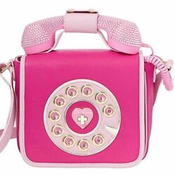 Betsey Johnson Kitsch Call Me Baby Telephone Bag Phone Pink Bedazzled