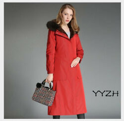 Winter Womenand039s Trench Coat Long Sleeve Fur Coat Jacket Overcoat Hooded Outwear